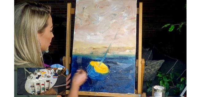 Морской пейзаж. Живопись маслом. Рисуем маслом. Яхта Море