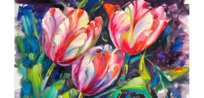"""Как рисовать цветы? Картина """"Тюльпаны маслом""""."""