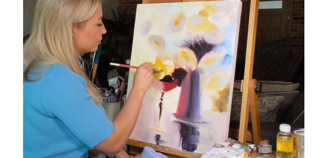 Уроки рисования Лилии Степановой. Цветочно-фруктовый натюрморт