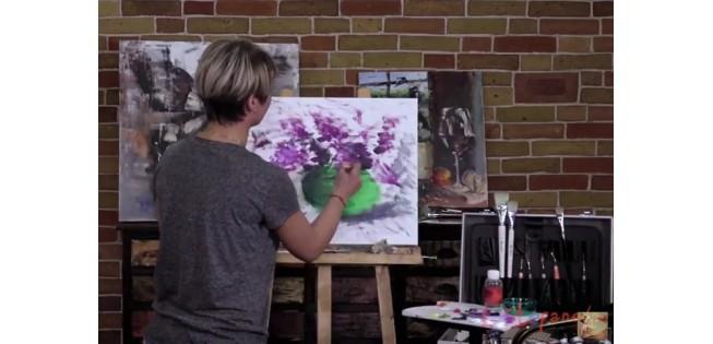 """Уроки рисования. Учимся рисовать """"Цветы сирени маслом""""."""